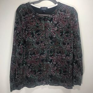 LANDS' END Paisley Cardigan Sweater, Size XL 18